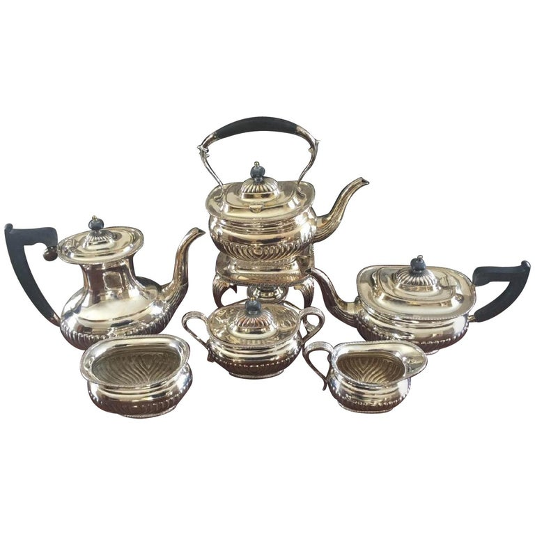 Six-Piece Sheffield Silver Plate Coffee and Tea Service For Sale