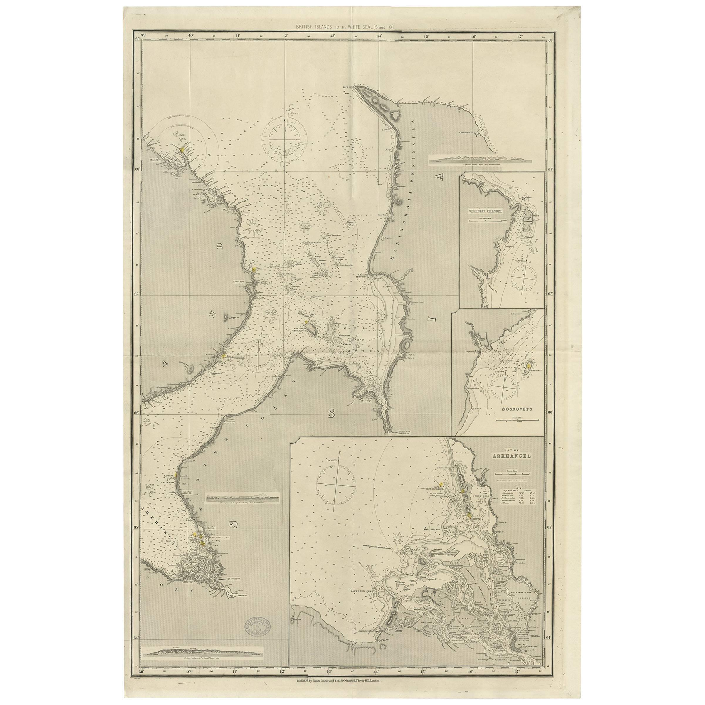 Antique Map of the British Islands to the White Sea by J. Imray
