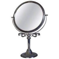 Midcentury Bevelled Table Mirror in Silvered Metal Frame for Make Up and Jewelry