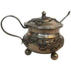 Wang Hing Chinese Export Silver Dragon Mustard Pot with Spoon Early 20th Century