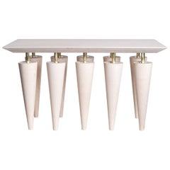 Blue Birchwood and Brass Coffee Table, Zwei Design