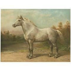 Antique Print of the Boulon Horse by O. Eerelman, 1898