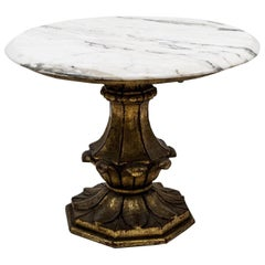 Vintage Round Accent Table with Marble Top and Giltwood Base
