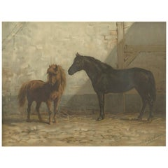 Antique Print of an English and French Pony by O. Eerelman, 1898