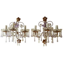 French Murano Drops Lavender Crystal Flowers Three-Light Sconces, circa 1920