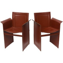 A Pair of Italian Leather Armchairs by Matteo Grassi Mid Century Modern