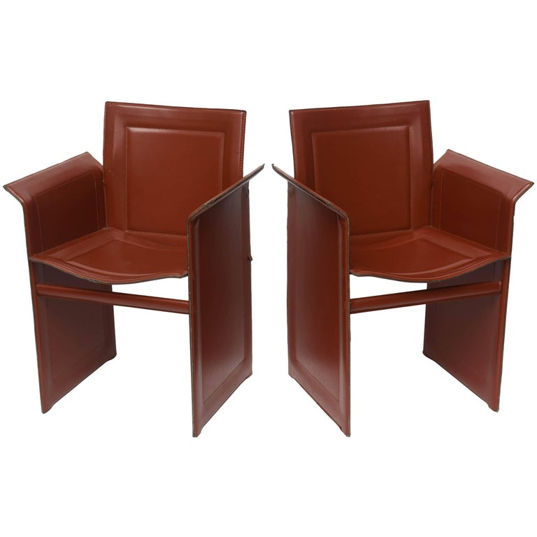 Four Italian  Mid-Century Modern Matteo Grassi leather armchairs For Sale