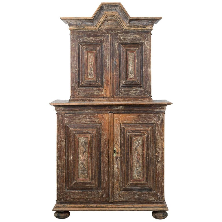 18th Century Swedish Baroque Cupboard For Sale