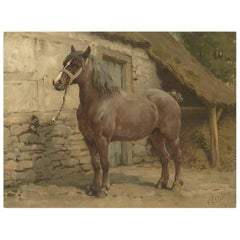 Antique Print of the Ardenner Horse by O. Eerelman, 1898