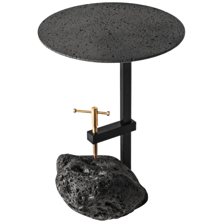 Buzao F, Black Lava Stone Side Table by Bentu Design