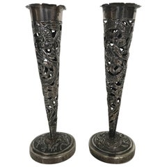 Hung Chong Early 20th Century Reticulated Chinese Export Silver Dragon Vases