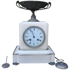 Mid-19th Century Neoclassical Revival White Marble and Bronze Mantel Clock
