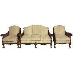 Good Early 20th Century George I Style Walnut Framed Bergère Three-Piece Suite