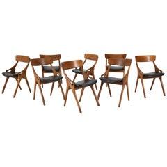 Eight Oak Mid-Century Modern Chairs by Arne Hovmand Olsen for Mogens Kold, 1950s