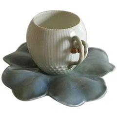 Bing & Grondahl Art Nouveau Cup and Saucer, Water Lilies Designed by Pietro Kroh