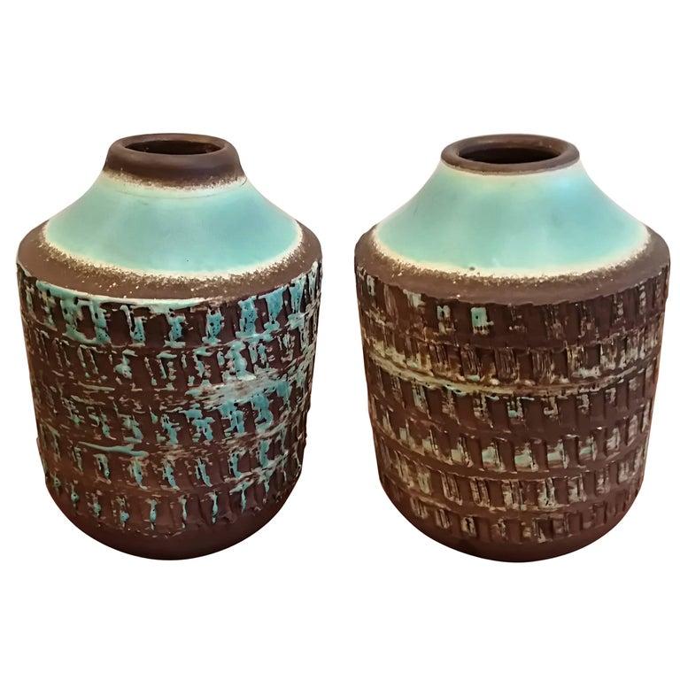 Jean Besnard Art Deco Pair of Ceramic Vase, circa 1930 For Sale