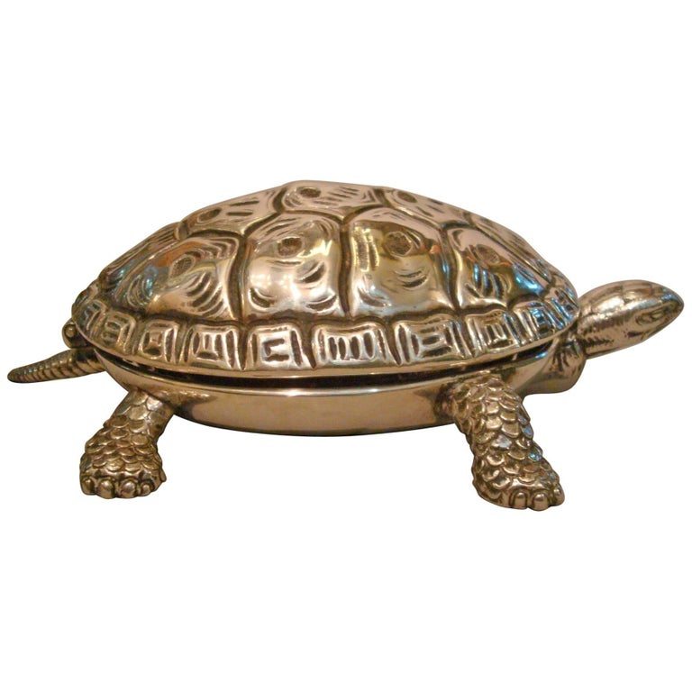 Tortoise Sculpture Silver Table Bell
