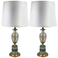 Pair of English Wedgwood and Cut Crystal Lamps
