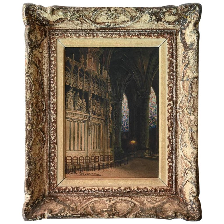 19th Century Watercolor of a Cathedral For Sale