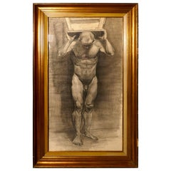 Male Nude Posing as Atlas, a Large Framed Study in Charcoal
