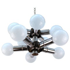 Atomic Age Two-Tiered Molecular Chandelier in Chrome