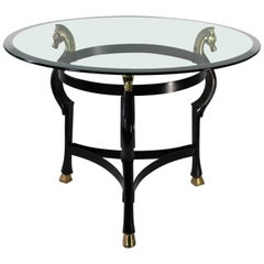 Midcentury Round End Table in Ebonized Brass with Seahorse Motif