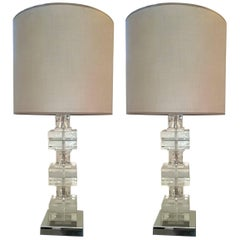 Elegant Pair of Glass Table Lamps