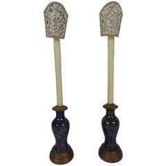 Pair of Oriental Powder Blue Candlestick Lamps