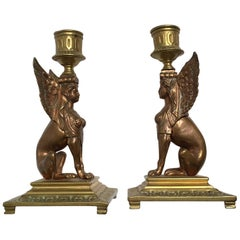 Barbedienne-frères Leblanc Empire Pair of Candleholder