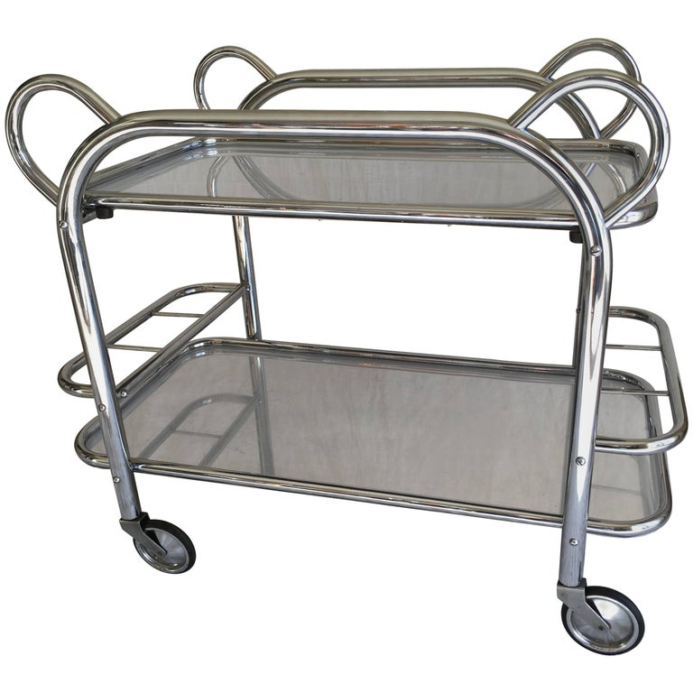 Art Deco Chrome Plated Tubular Steel Bar Cart with a Removable Tray, Marked