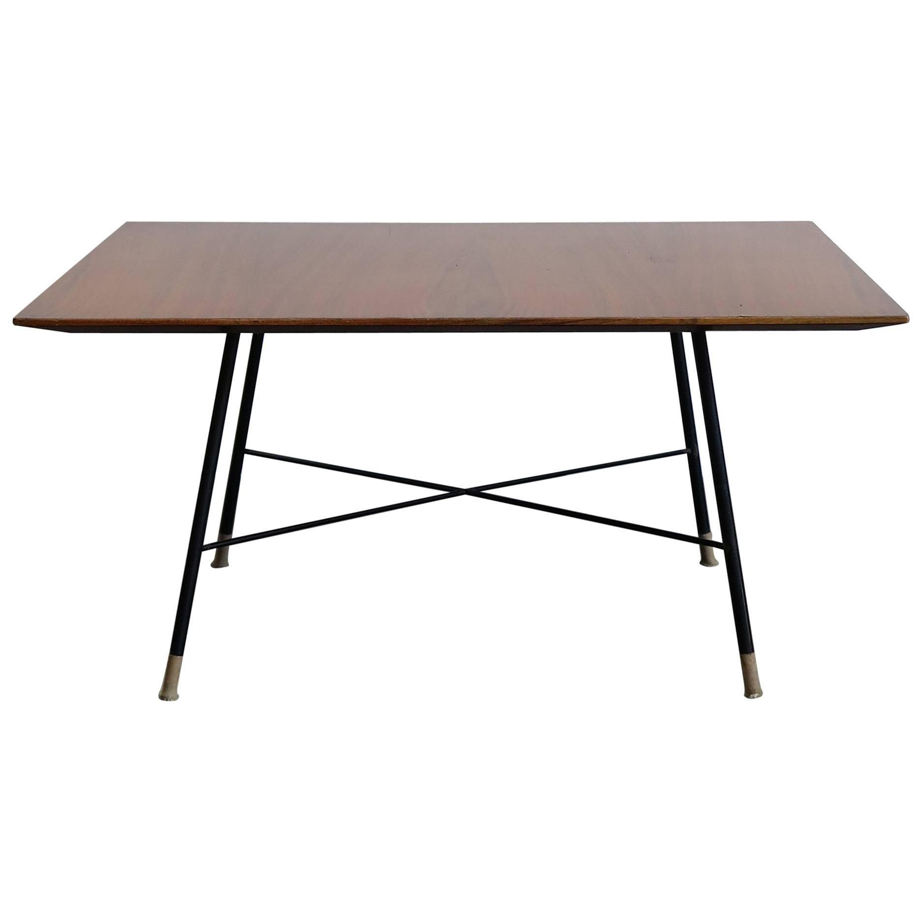 1950s Ico Parisi Midcentury Modern Square Wood Metal Coffee Table