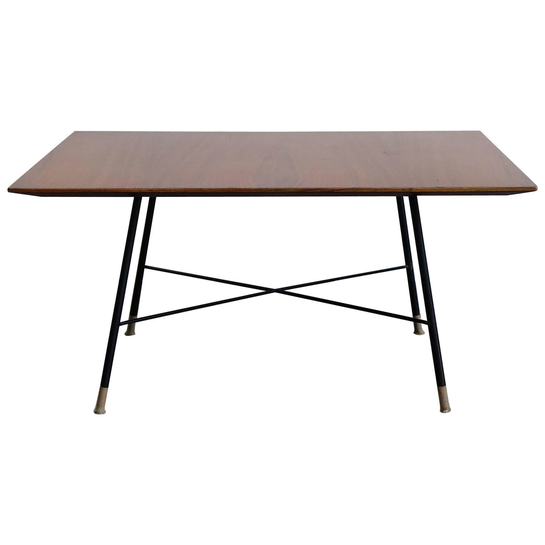 1950s Ico Parisi Midcentury Modern Square Wood Metal Coffee Table For  Cassina For Sale