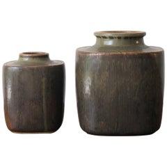 1960s Valdemar Petersen Scandinavian Stoneware Vases for Bing & Grondahl
