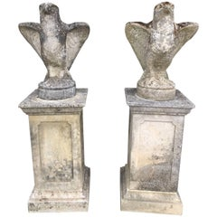 Pair of Late 19th Century Garden Stone Peregrine Falcons on Cast Pedestals
