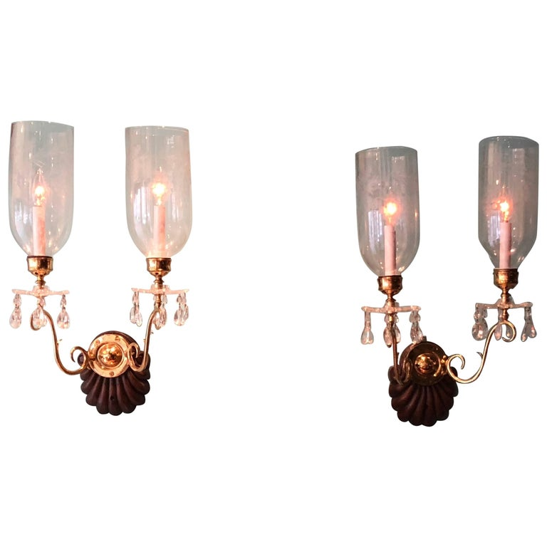 Pair of Double Arm Hurricane Shade Sconces