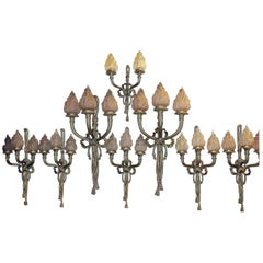 Series of Eight Wall Lights Patinated Bronze with Glass Flames, Louis XVI Style