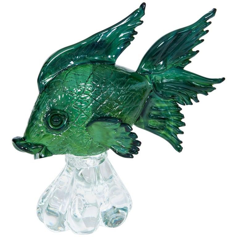 Italian Venetian Blown Murano Glass Fish Sculpture, green, signed by Zanetti
