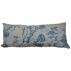 Chinoiserie Toile Blue and White pillow French 18th century