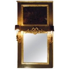 19th century Trumeau Mirror, Antique lighted Mirror with Oil Painting scene