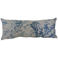 18th Century French Antique Chinoiserie Toile Blue and White pillow