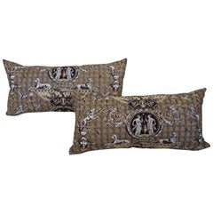 Pair of  1980s Brunschwig & Fils 'Les Sphinx Medaillons' brown toile pillows