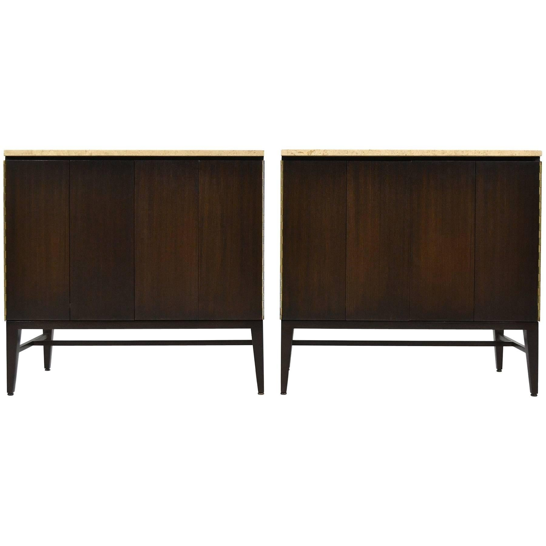 Paul McCobb Cabinets or Credenzas with Travertine Tops by Calvin