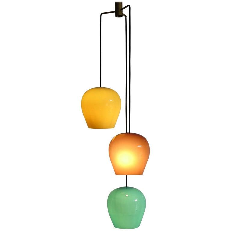 1950s Massimo Vignelli for Venini Italian Midcentury Murano Pendant Glass Lamp