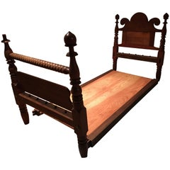 American Twin Size Poster Bed with Fleur-de-Lys Back, circa 1890