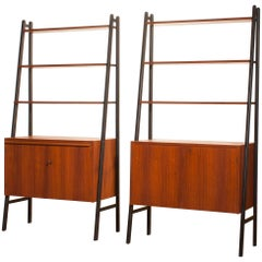 1950s, Two Teak Bookcases Roomdividers Cabinets