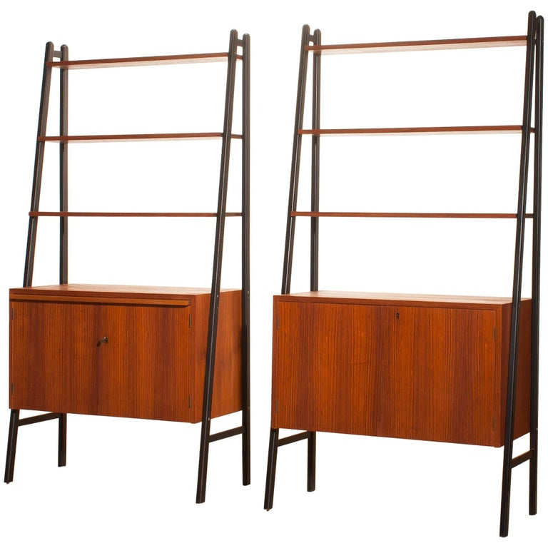 1950s, Two Teak Bookcases Roomdividers Cabinets  For Sale