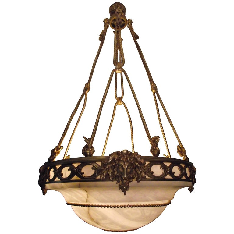 Antique Gilt Bronze and Alabaster Ceiling Light or Chandelier