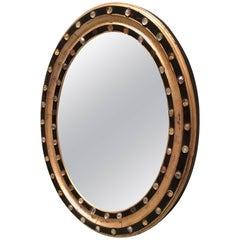 Irish George III Oval Mirror with Faceted Glass Studs, circa 1810