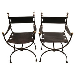 Pair of Regency Campaign Iron and Brass Leather Chairs
