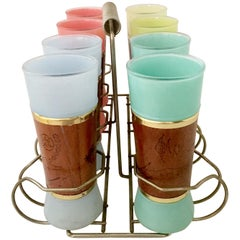 1950s Frosted Glass and Brass, Mahogany Wrapped Tumblers with Caddy Set of Nine